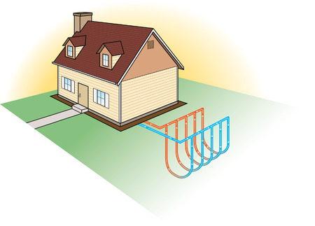 Vertical geothermal heat pump