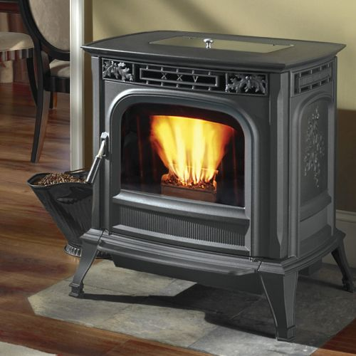 wood stove with a heat-proof glass window