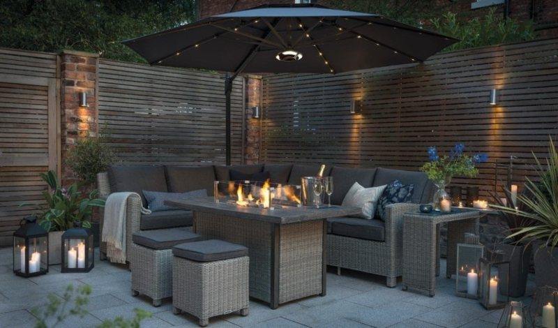 Rattan Fire Table