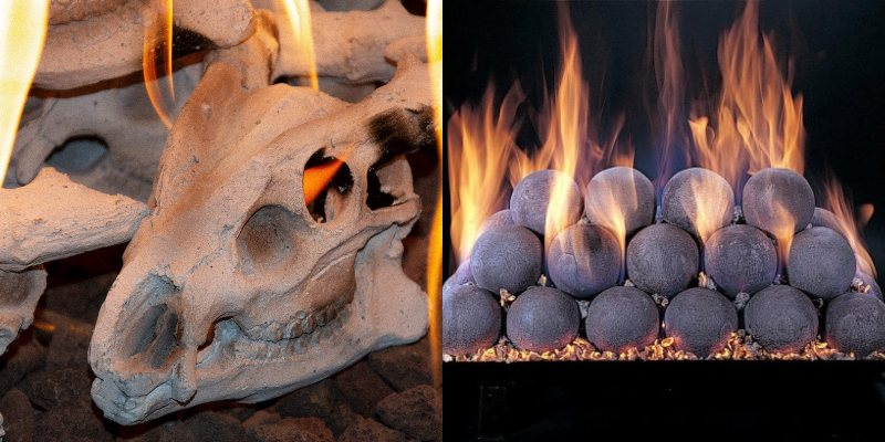 skull vs round ceramic balls fireplace log